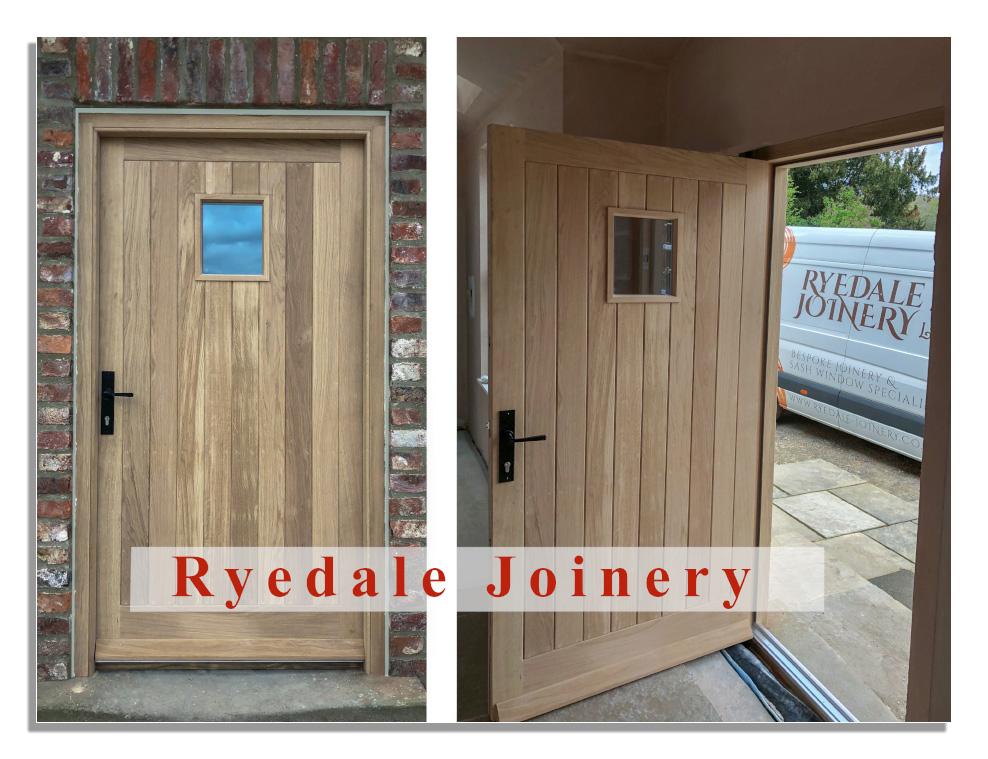 A bespoke door manufactured by Ryedale Joinery in European Oak.