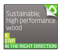 An image advertising Accoya® high performance wood.
