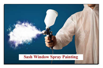 A man dressed in a painting overall spraying white paint.