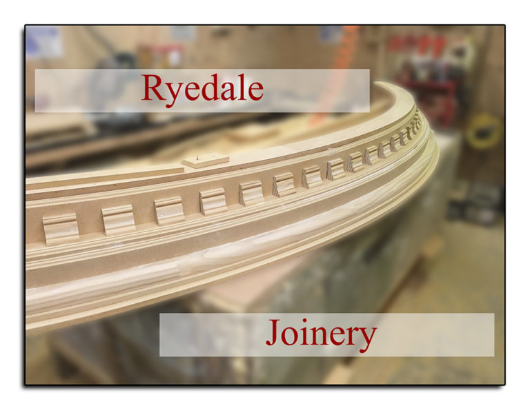 An ornate bow window top being traditionally crafted in the workshop at Ryedale joinery.