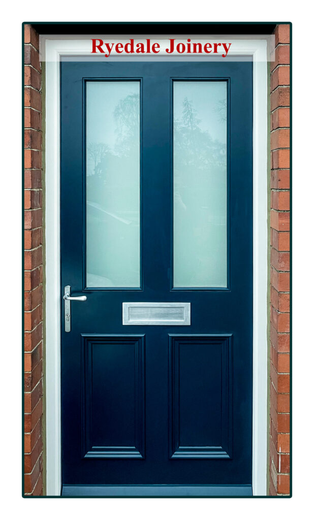 An image of a blue external front door, manufactured with Accoya timber and fitted with two quality double-glazed units.
