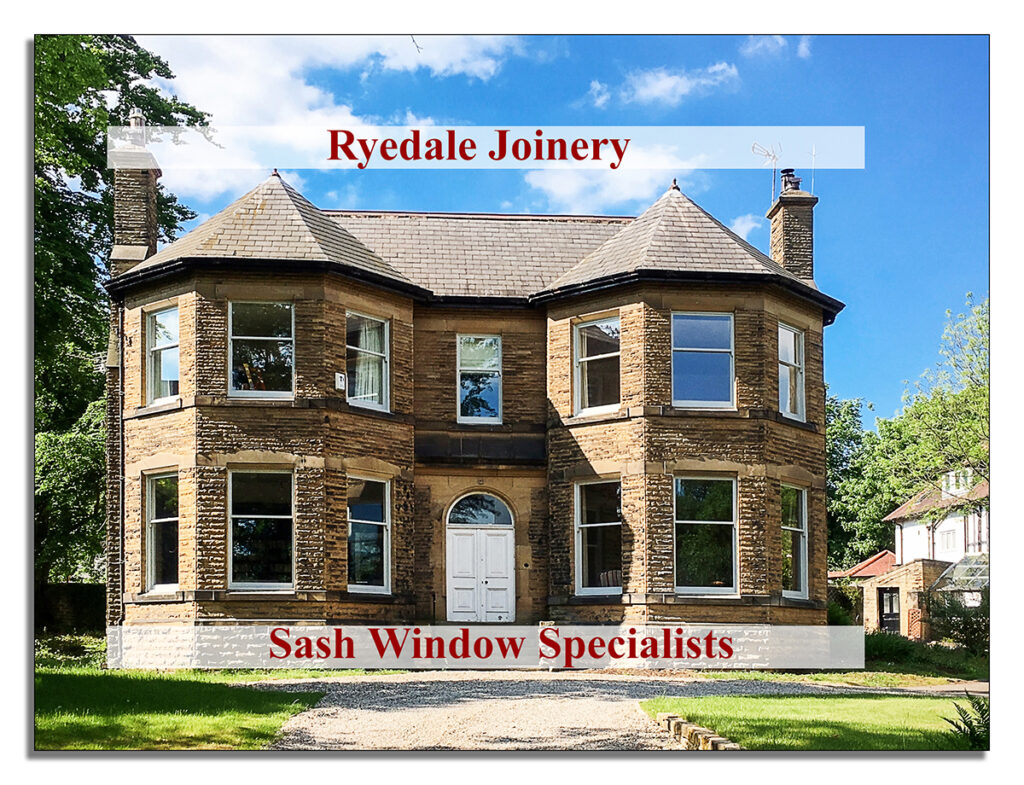 Image of a large York stone house with wooden windows and doors manufactured and fitted by Ryedale Joinery.